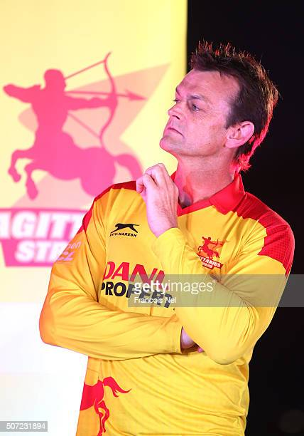 Adam Gilchrist of Sagittarius Strikers attends the Opening Ceremony for the Oxigen Masters Champions League 2016 on January 28 2016 in Dubai United...