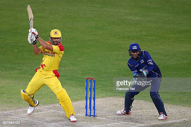 Adam Gilchrist of Sagittarius Strikers bats during the Oxigen Masters Champions League match between Sagittarius Strikers and Capricorn Commanders on...