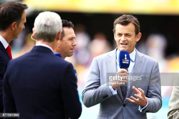 Adam Gilchrist of the BBC commentary team speaks on air before play on day one of the First Test Match of the 2017/18 Ashes Series between Australia...