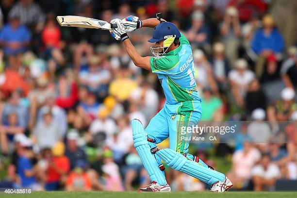 Adam Gilchrist of the Legends XI bats during the Twenty20 match between the Perth Scorchers and Australian Legends at Aquinas College on December 15...