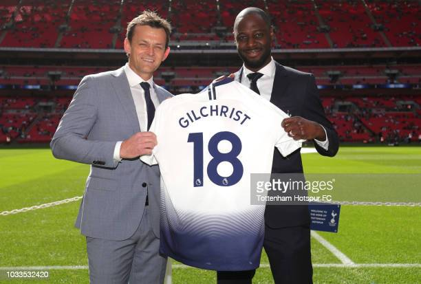 Adam Gilchrist poses for a photograph with Tottenham Hotspur legend Ledley King prior to the Premier League match between Tottenham Hotspur and...
