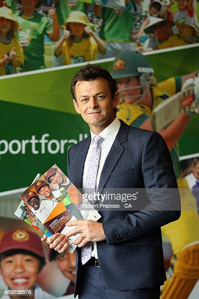 Adam Gilchrist poses for photos during the Cricket Australia via Getty Images Diversity and Inclusion Strategy Launch at Melbourne Cricket Ground on...