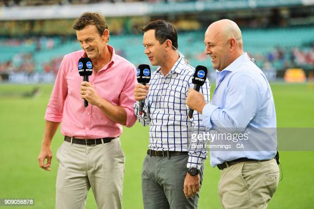 Adam Gilchrist Ricky Ponting and Darren Lehmann are pictured during the Big Bash League match between the Sydney Sixers and the Melbourne Stars at...