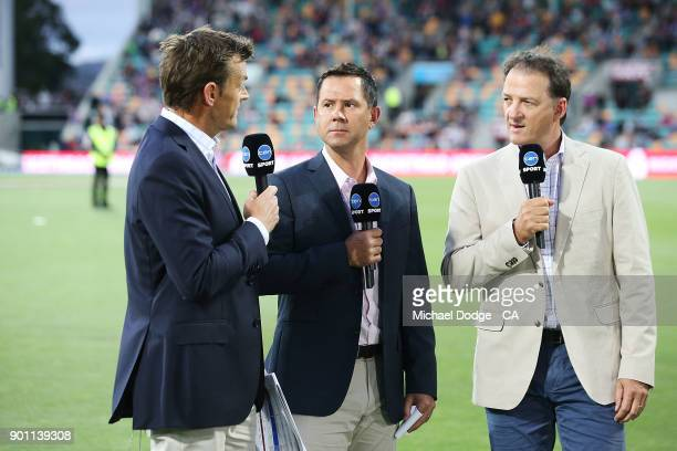 Adam Gilchrist Ricky Ponting and Mark Waugh speak to camera during the Big Bash League match between the Hobart Hurricanes and the Adelaide Strikers...