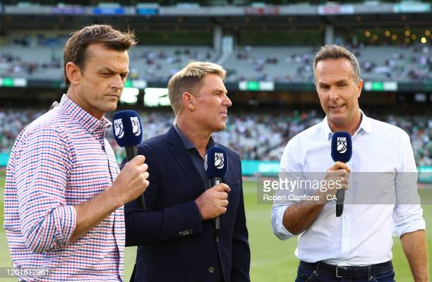 Adam Gilchrist, Shane Warne and Michael Vaughn are seen during the Big Bash League match between the Melbourne Stars and the Brisbane Heat at the...