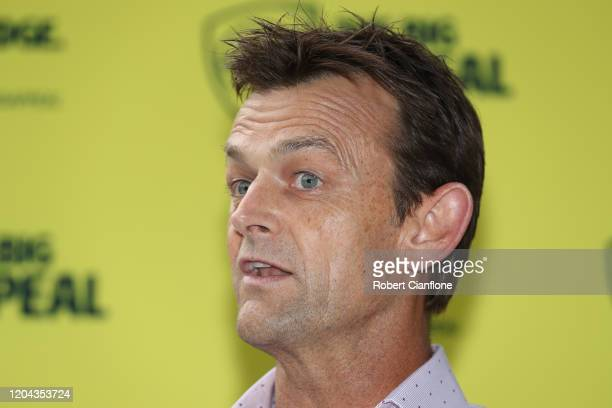 Adam Gilchrist speaks to the media during the Cricket Australia Bushfire Cricket Bash Media Opportunity at Cricket Australia HQ on February 06, 2020...