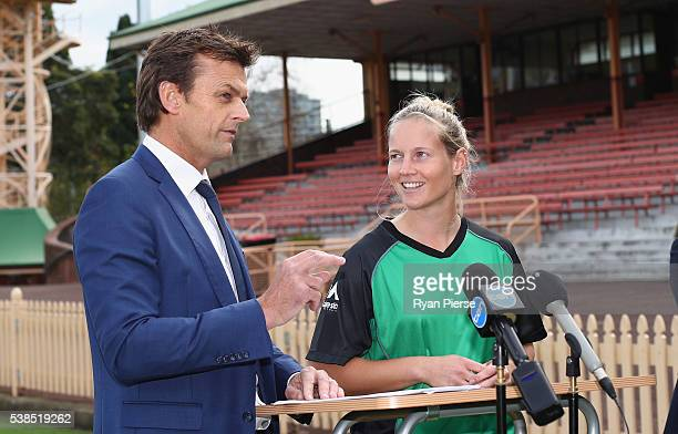 Adam Gilchrist speaks with WBBL player Meg Lanning during the schedule announcement for the 2016/07 Big Bash League schedule at North Sydney Oval on...