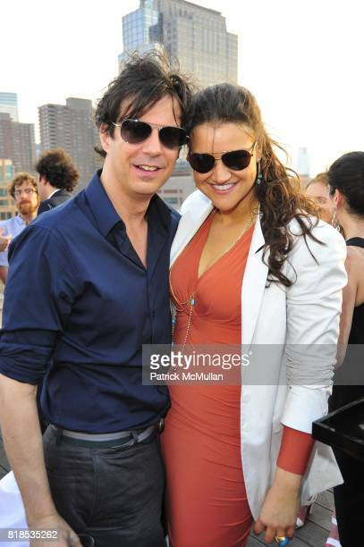 Adam Glassman and Shauna Brook attend Sunset Over the Hudson DAVID YURMAN Annual Rooftop Party at the David Yurman Rooftop on August 5 2010 in New...