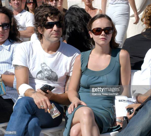 Adam Goldberg and Christina Ricci during Olympus Fashion Week Spring 2005 - Benjamin Cho - Front Row and Backstage at New York City in New York City,...