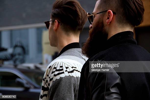Adam Goldston and Ryan Goldston seen at Skylight Clarkson Sq outside the John Elliott show Adam wears Dita sunglasses Ryan wears Tom Ford sunglasses...