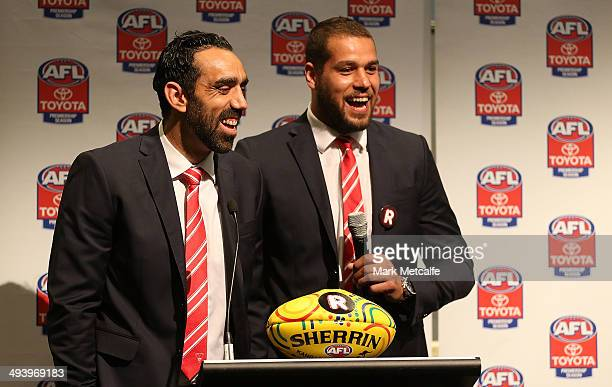 Adam Goodes and Lance Franklin of the Swans speak to the media during the AFL Indigenous Round Launch in Sydney at Hyde Park on May 27, 2014 in...
