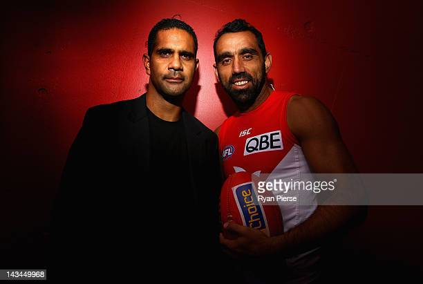 Adam Goodes and Michael O'Loughlin pose during a Sydney Swans AFL media session at the Sydney Cricket Ground on April 27 2012 in Sydney Australia On...
