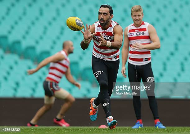 Adam Goodes in action during a Sydney Swans AFL training session at Sydney Cricket Ground on June 11 2015 in Sydney Australia