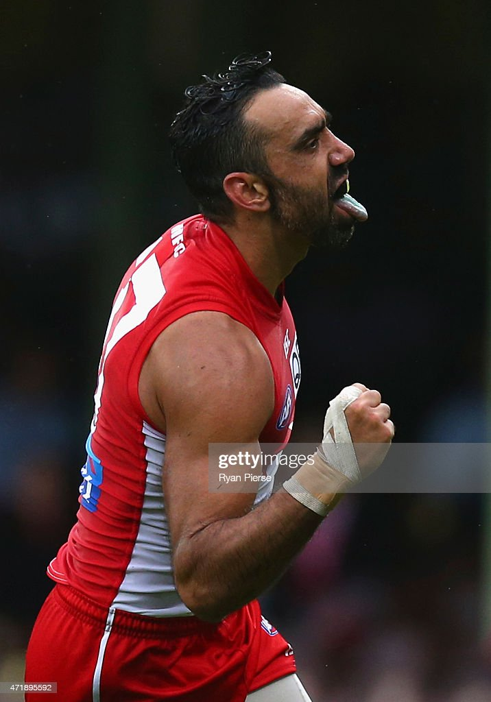 Adam Goodes of the Swans celebrates a goal during the round five AFL match between the Sydney Swans and the Western Bulldogs at SCG on May 2, 2015 in Sydney, Australia.