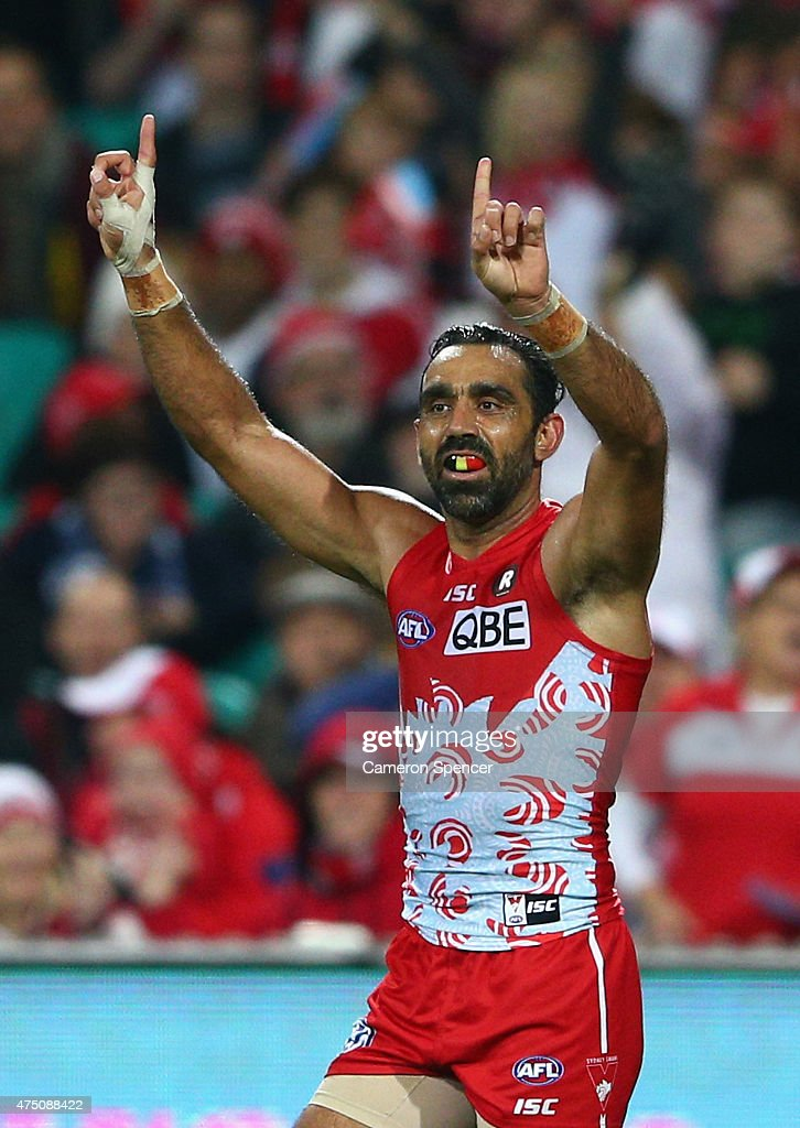 Adam Goodes of the Swans celebrates kicking a goal during the round nine AFL match between the Sydney Swans and the Carlton Blues at SCG on May 29, 2015 in Sydney, Australia.