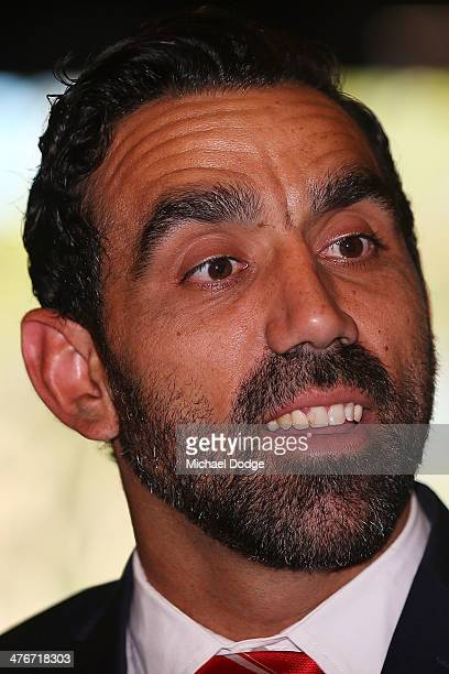 Adam Goodes of the Swans looks ahead during the 2014 AFL Season Launch at Adelaide Oval on March 5, 2014 in Adelaide, Australia.