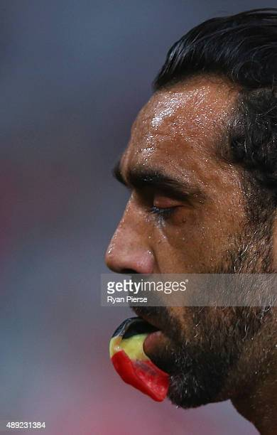 Adam Goodes of the Swans looks on during the First AFL Semi Final match between the Sydney Swans and the North Melbourne Kangaroos at ANZ Stadium on...