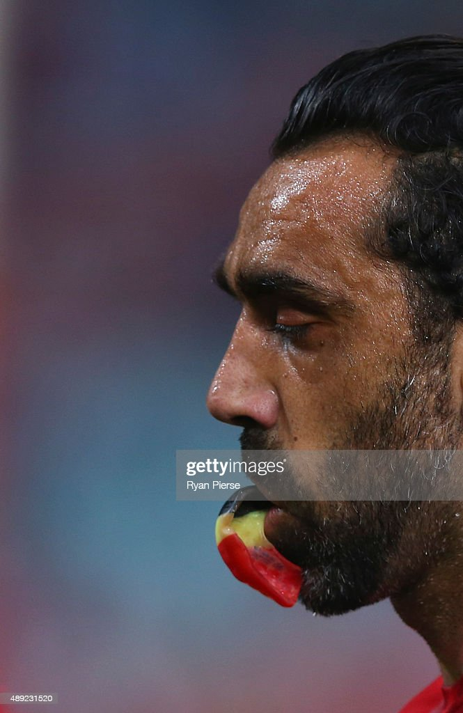 Adam Goodes of the Swans looks on during the First AFL Semi Final match between the Sydney Swans and the North Melbourne Kangaroos at ANZ Stadium on September 19, 2015 in Sydney, Australia.