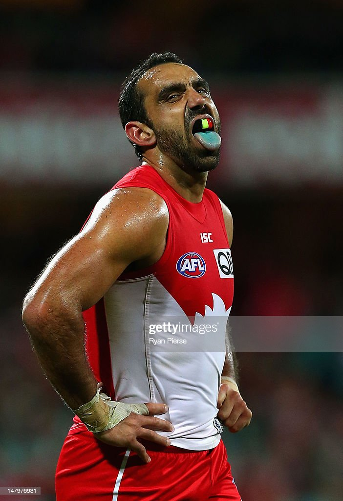 Adam Goodes of the Swans reacts during the round 15 AFL match between the Sydney Swans and the Brisbane Lions at the Sydney Cricket Ground on July 7, 2012 in Sydney, Australia.