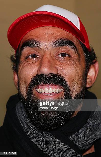 Adam Goodes of the Swans reacts in the Bulldogs change rooms after the round nine AFL match between the St Kilda Saints and the Western Bulldogs at...