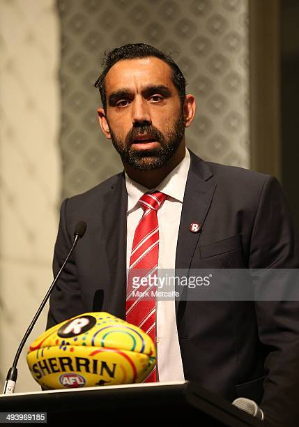 Adam Goodes of the Swans speaks to the media during the AFL Indigenous Round Launch in Sydney at Hyde Park on May 27, 2014 in Sydney, Australia.