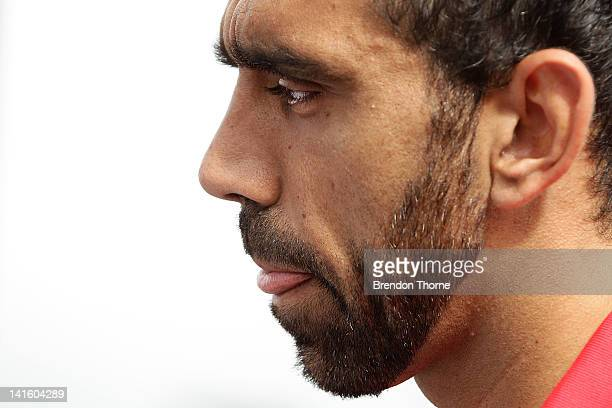 Adam Goodes of the Swans speaks with the media during the launch of the Sydney Derby trophy at Luna Park on March 20, 2012 in Sydney, Australia. The...