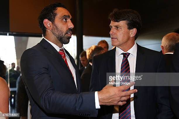 Adam Goodes of the Swans talks to coach Paul Roos of the Demons during the 2014 AFL Season Launch at Adelaide Oval on March 5, 2014 in Adelaide,...