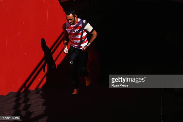 Adam Goodes of the Swans walks onto the field during a Sydney Swans AFL training session at Sydney Cricket Ground on May 14 2015 in Sydney Australia