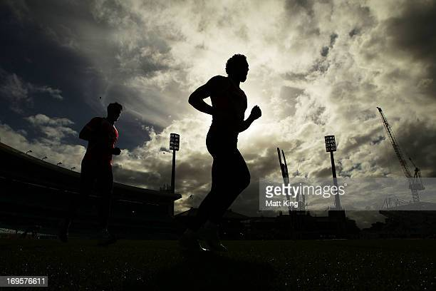 Adam Goodes runs during a Sydney Swans AFL training session at the Sydney Cricket Ground on May 28 2013 in Sydney Australia