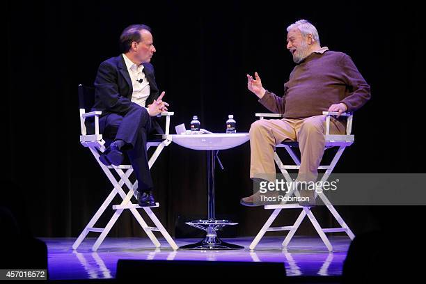 Adam Gopnik and Stephen Sondheim participate in a discussion during the New Yorker Festival on October 10 2014 in New York City