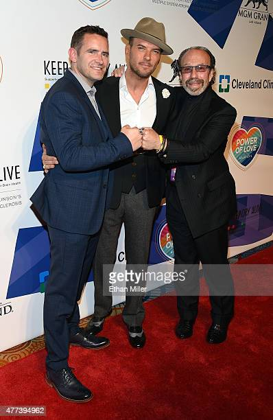 Adam Goss his brother singer/songwriter Matt Goss and entertainment manager Bernie Yuman attend the 19th annual Keep Memory Alive Power of Love Gala...