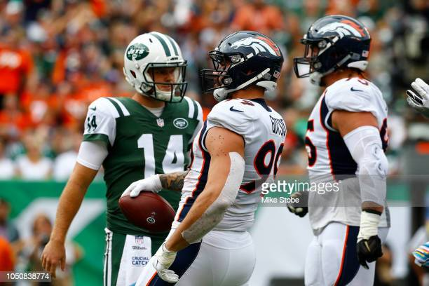 Adam Gotsis of the Denver Broncos celebrates after causing Sam Darnold of the New York Jets to fumble during the first quarter in the game at MetLife...