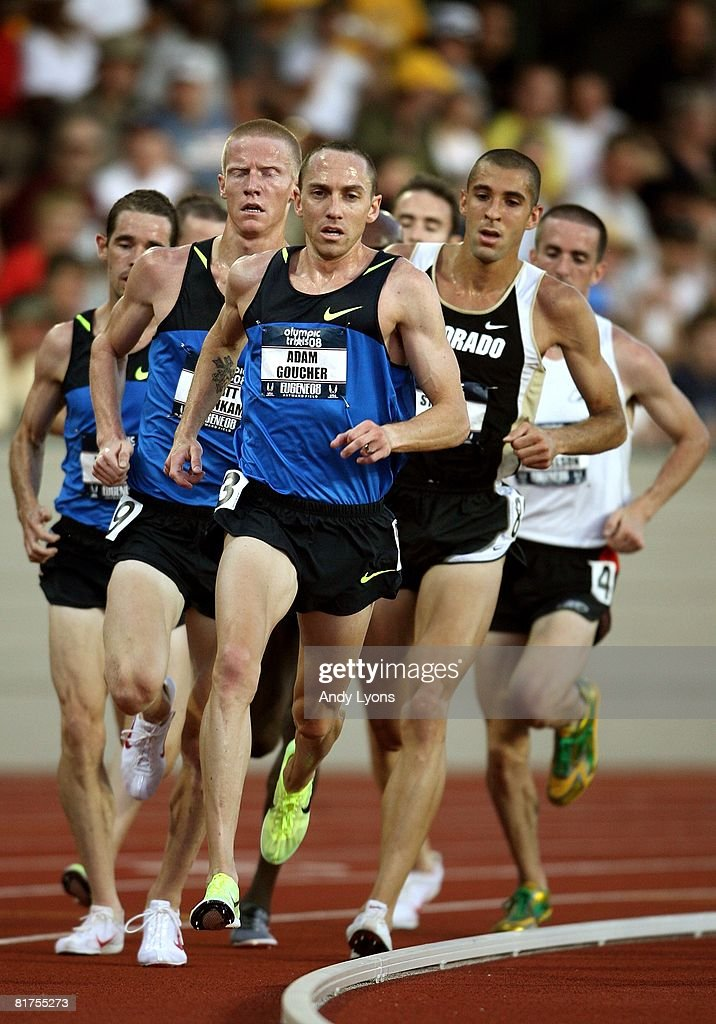 Adam Goucher competes in the men's 5,000 meter preliminary round during day one of the U.S. Track and Field Olympic Trials at Hayward Field on June 27, 2008 in Eugene, Oregon.