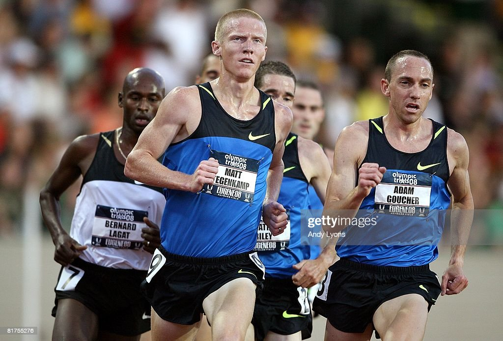 Adam Goucher (R) runs next to Matt Tegenkamp (L) in the men's 5,000 meter preliminary round during day one of the U.S. Track and Field Olympic Trials at Hayward Field on June 27, 2008 in Eugene, Oregon.