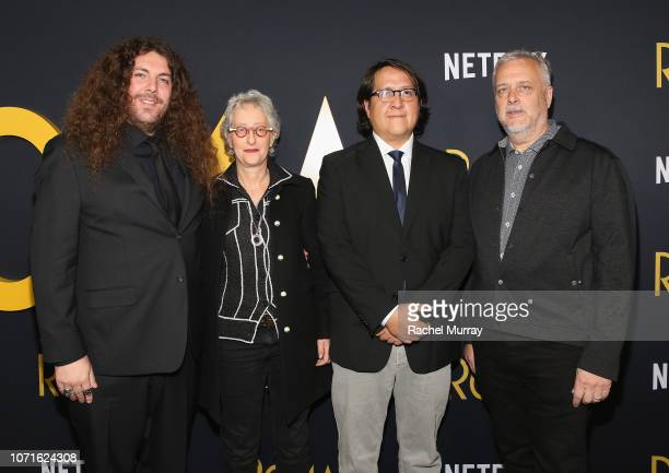"Adam Gough, Lynn Fainchtein, Oscar Tello and Skip Lievsay attend the Netflix ""Roma"" Premiere at the Egyptian Theatre on December 10, 2018 in..."