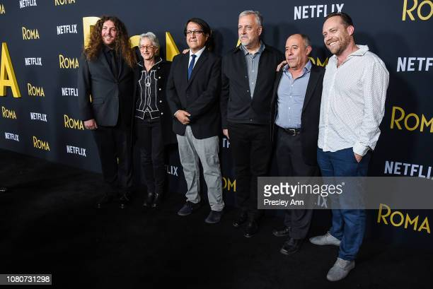 "Adam Gough, Lynn Fainchtein, Oscar Tello and Skip Lievsay attends Los Angeles Premiere Of Alfonso Cuaron's ""Roma"" at American Cinematheque's Egyptian..."
