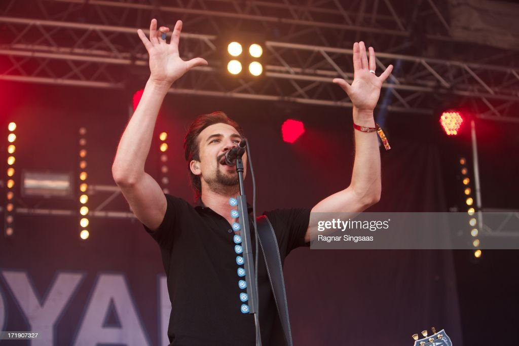 Adam Grahn of Royal Republic performs on stage on Day 4 of Rock The Beach Festival on June 29, 2013 in Helsinki, Finland.