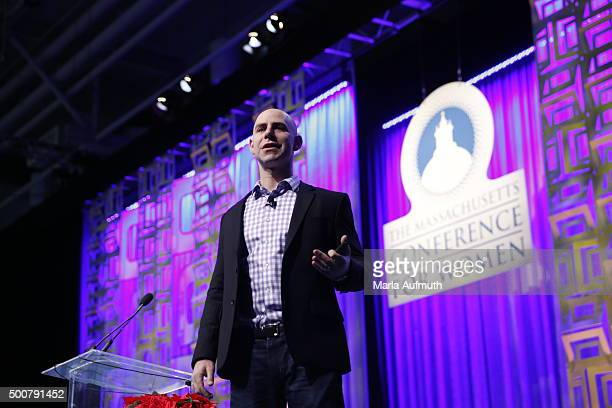 Adam Grant teacher Wharton School speaks on stage during Massachusetts Conference For Women at Boston Convention Exhibition Center on December 10...