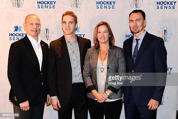 Adam Graves Luc Robitaille Cassie CampbellPascal and Miroslav Satan at Hockey SENSE in partnership with the NHL NHLPA and Beyond Sport at the World...