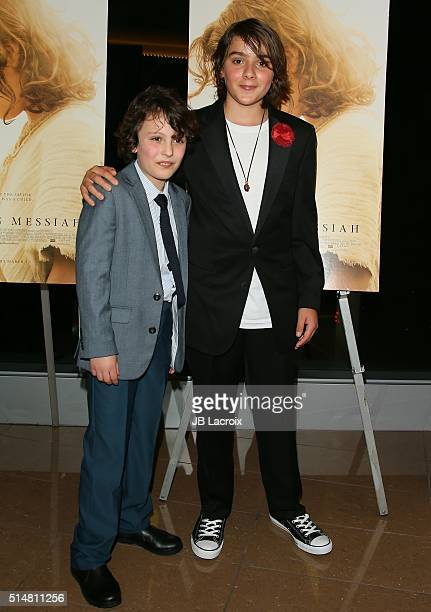 Adam Greaves Neal and Finn McLeodIreland attend the screening of Focus Features' 'The Young Messiah' on March 10 2016 in Los Angeles California