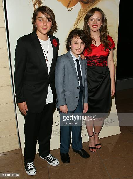 Adam Greaves Neal Finn McLeodIreland and Sara Lazzaro attend the screening of Focus Features' 'The Young Messiah' on March 10 2016 in Los Angeles...
