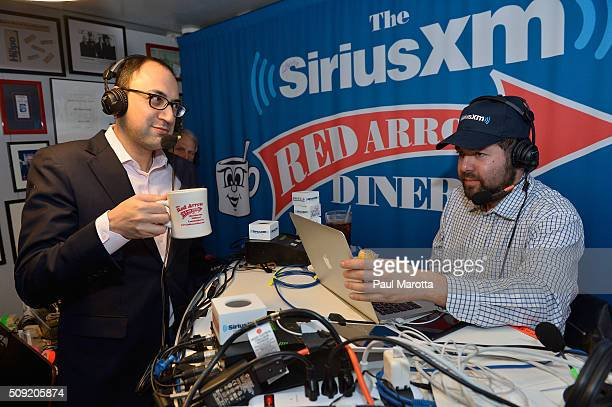 Adam Green of Progressive Change Campaign Committee is interviewed by Host Ari RabinHavt at SiriusXM Red Diner Broadcasts from New Hampshire Primary...
