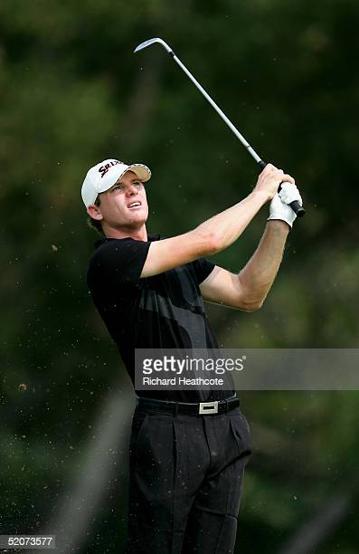 Adam Groom of Australia pitches into the 11th green during the second round of the Caltex Masters held at The Laguna National Golf and Country Club...