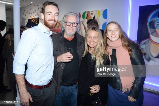 Adam Grounds Steven Lewis Tara Lewis and Carla Collins attend Delusions of the Wild Solo Exhibition By Alexandra Houx Grounds at 213 Bowery on...