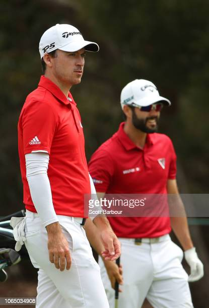 Adam Hadwin and Nick A Taylor of Canada look on during day four of the 2018 World Cup of Golf at The Metropolitan on November 25 2018 in Melbourne...