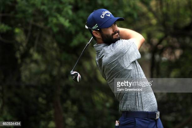 Adam Hadwin hits off the third tee during the final round of the Valspar Championship at Innisbrook Resort Copperhead Course on March 12 2017 in Palm...