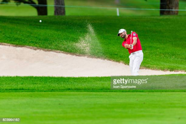 Adam Hadwin launches a shot from a sand trap during second round action of the RBC Canadian Open on July 28 at Glen Abbey Golf Club in Oakville ON...