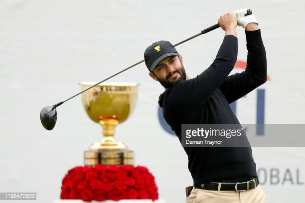 Adam Hadwin of Canada and the International team hits off the first tee during day one of the 2019 Presidents Cup at Royal Melbourne Golf Course on...