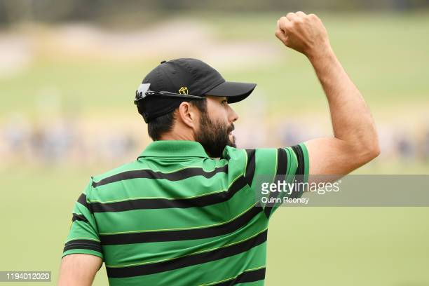 Adam Hadwin of Canada and the International team reacts on the 15th green during Sunday Singles matches on day four of the 2019 Presidents Cup at...