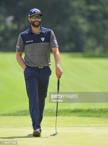 Adam Hadwin of Canada approaches the 18th green during the second round of the BMW Championship at Medinah Country Club on August 16, 2019 in...